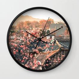 Seoul Rooftops - Bukchon Hanok Village, Korea Wall Clock