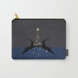 Champagne Gold Star Christmas Tree with Magical Reindeers | Dreamy Blue Carry-All Pouch