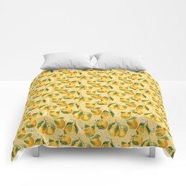 Fresh Juicy Oranges with Flowers Comforters