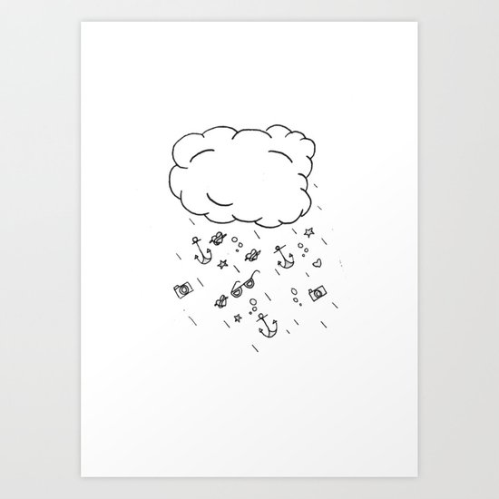 Hipster Rain Cloud Art Print