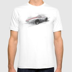 racing car MEDIUM White Mens Fitted Tee