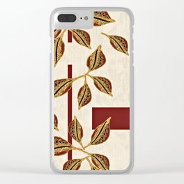 Golden Seed Pod with Red Accent Stripes Clear iPhone Case