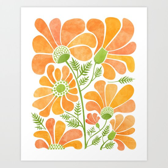Happy California Poppies / hand drawn flowers by kristiangallagher
