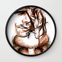 apocalypse now Wall Clocks featuring Apocalypse kiss by Salgood Sam
