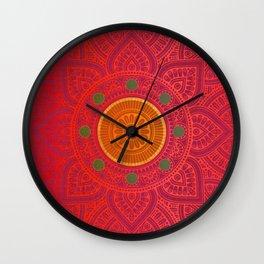 """Fuchsia and Gold Mandala"" Wall Clock"