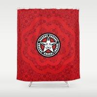 propaganda Shower Curtains featuring DISOBEY: Red Propaganda by Feel Good Everyday
