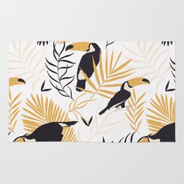 Toucan Leave Tropical Pattern Rug