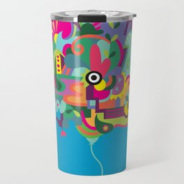 a happy doodle balloon Travel Mug