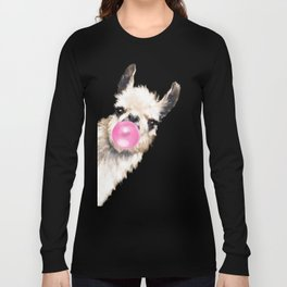 Bubble Gum Sneaky Llama in Blue Long Sleeve T-shirt