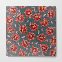 Red Christmas Cactus Flowers Dark Blue Floral Pattern Metal Print