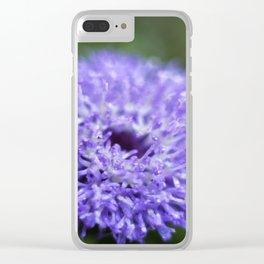 Brazilian Bachelor's Blue Button Flower Clear iPhone Case