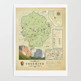 Yosemite National Park Map {Color Version} Print Poster