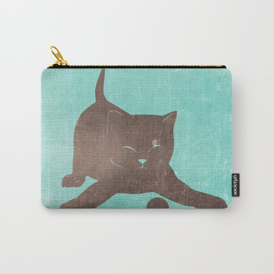 Happy kitten plays with a ball - minimalist illustration Carry-All Pouch