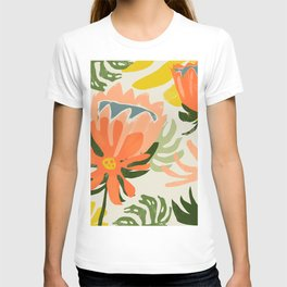 Flowers & Rain, Summer Floral Nature Botanical Painting, Modern Colorful Bohemian Illustration T-shirt