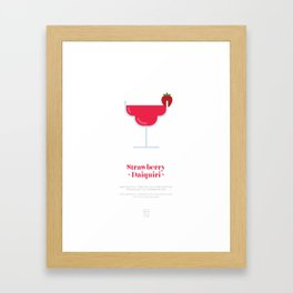 Strawberry Daiquiri Cocktail Recipe Art Print (White) Framed Art Print