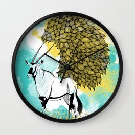 Oryx Over Watercolor Texture Wall Clock