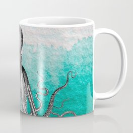 Antique Nautical Steampunk Octopus Vintage Kraken sea monster ombre turquoise blue pastel watercolor Coffee Mug
