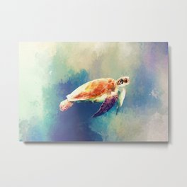 Sea Turtle Painting Metal Print