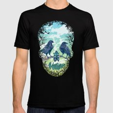 Nature's Skull (Green) Black Mens Fitted Tee LARGE