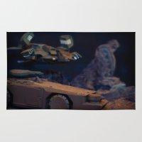 aliens Area & Throw Rugs featuring Aliens Landscape by Ewan Arnolda