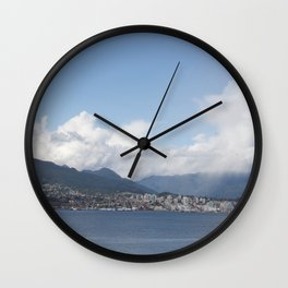 Vancouver Harbour north shore mist Wall Clock