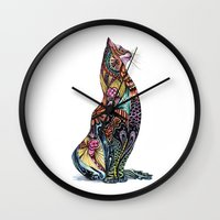 tatoo Wall Clocks featuring Tatoo cat by Annie Liu