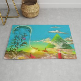 'A Vision of Paradise,' magical realism surreal landscape painting by Salvatore Di Giovanna Rug