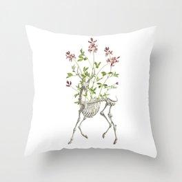 Deer Skeleton and Flowers Throw Pillow