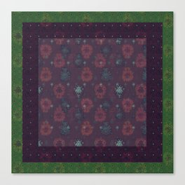 Lotus flower patchwork with green border, woodblock print style pattern Canvas Print