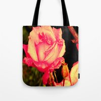 rare Tote Bags featuring Rare Rose  by Ambers Vintage Find