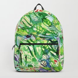 abstract watercolor green leaves Backpack
