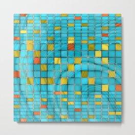 Block Aqua Blue and Yellow Art - Block Party 2 - Sharon Cummings Metal Print