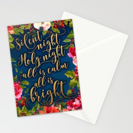 Silent night, pink florals and calligraphy Stationery Cards