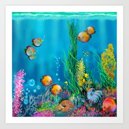 Undersea with Nautilus Art Print