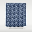 Fish // Navy Blue by thinlinetextiles