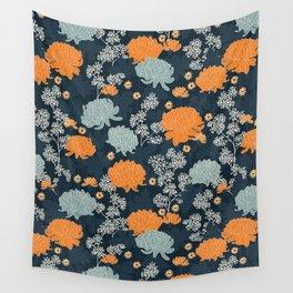 Peony Flower Dark Blue Wall Tapestry
