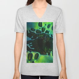 Green and Blue Abstract Bubbles Unisex V-Neck