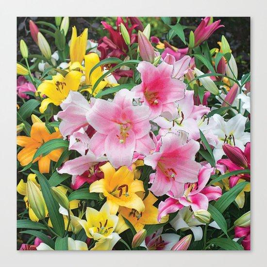 SPRING LILIES FLOWER GARDEN MEDLY Canvas Print