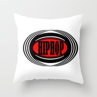 hip hop Throw Pillows featuring HIP HOP  by Robleedesigns