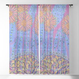Spiky Saguaro Blooms and Spiny Basket - Desert Energy Sheer Curtain