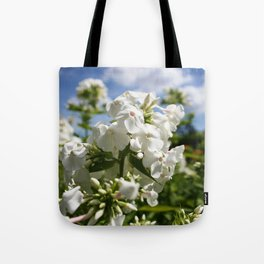 White Flowers & Blue Sky Tote Bag