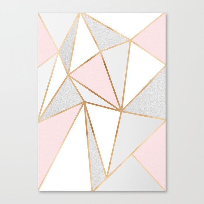 Pink, Grey & Gold Geo Leinwanddruck