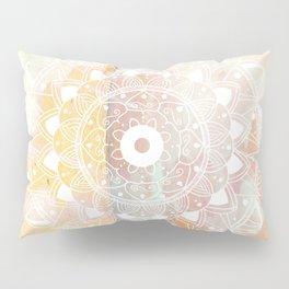 Delicate white mandala on pink Pillow Sham