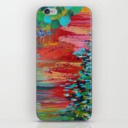 REVISIONED RETRO - Bright Bold Red Abstract Acrylic Colorful Painting 70s Vintage Style Hip 2012 iPhone Skin