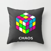 chaos Throw Pillows featuring Chaos by Dizzy Moments