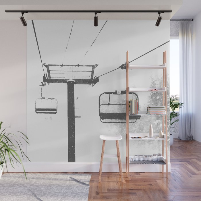 Chairlift Abyss // Black and White Chair Lift Ride to the Top Colorado Mountain Artwork Wall Mural