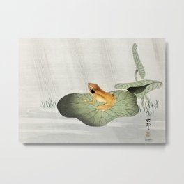 Frog on Lotus leaf - Japanese vintage woodblock print Metal Print