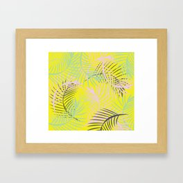 Tropical Candy Rush Yellow Palm Leaves Framed Art Print