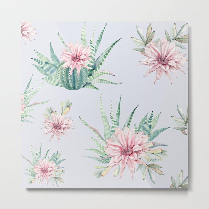 Cactus Pattern Light Blue #society6 #buyart Metal Print