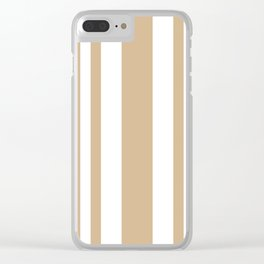 Mixed Vertical Stripes - White and Tan Brown Clear iPhone Case